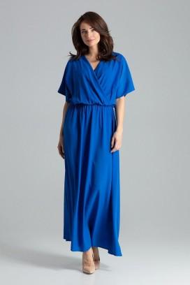 Dlhé modré šaty s prekladaným dekoltom a rozparkom model 135889 lf