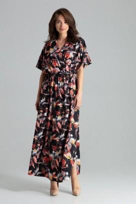 Dlhé kvietkované šaty s prekladaným dekoltom a rozparkom model 135893 lf