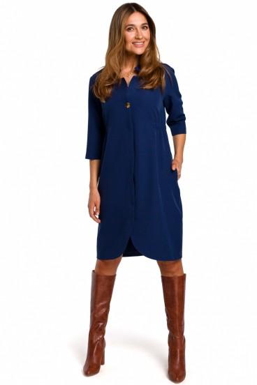 Krátke modré košeľové šaty s 3/4 rukávom model 135945 se