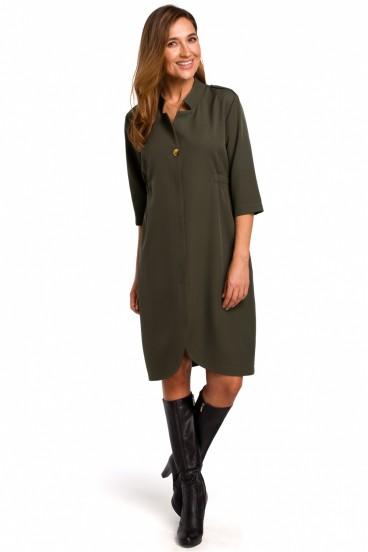 Krátke zelené košeľové šaty s 3/4 rukávom model 135946 se