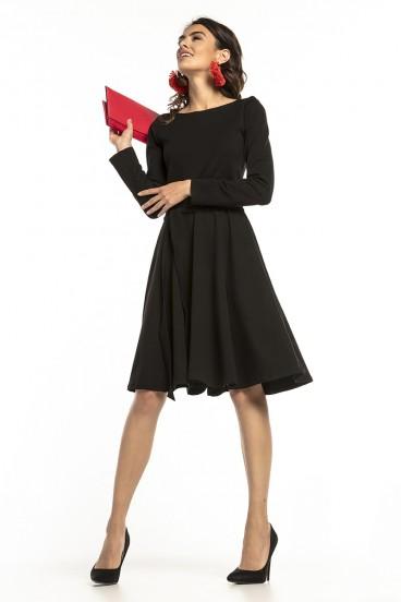 Krátke čierne šaty s nariasenou širokou sukňou a dlhými rukávmi model 136263 ta