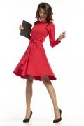 Krátke červené šaty s nariasenou širokou sukňou a dlhými rukávmi model 136264 ta