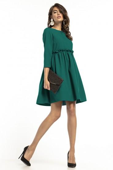 Krátke voľné zelené šaty s nariasenou sukňou model 136278 ta