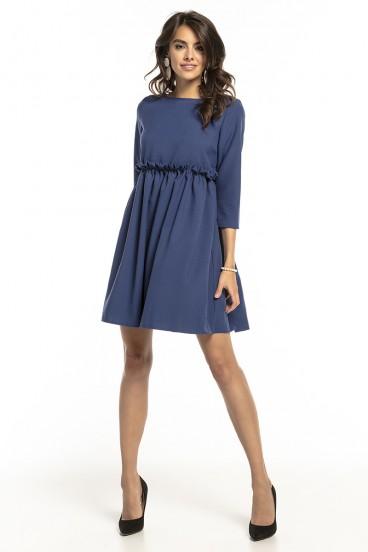 Krátke voľné modré šaty s nariasenou sukňou model 136280 ta