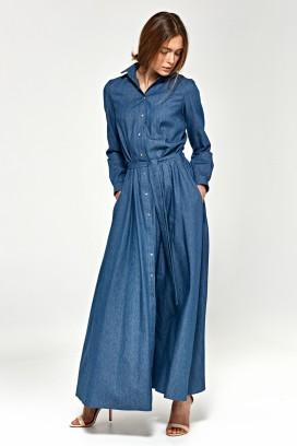 Dlhé džínsové šaty so širokou sukňou, opaskom a dlhými rukávmi model 118790 ne