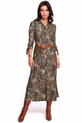 Košeľové midišaty s leopardím vzorom model 134523 BE