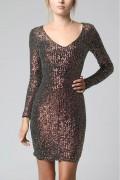 Krátke hnedé spoločenské flitrované šaty s dlhými rukávmi model 137636 yS
