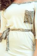 278-2 Krátke smotanové šaty s leopardími doplnkami