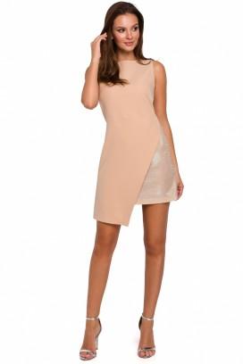 Krátke béžové spoločenské šaty model 138504 MR