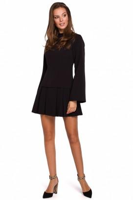 Krátke čierne šaty so skladanou sukňou model 138565 MR