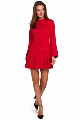 Krátke červené šaty so skladanou sukňou model 138566 MR