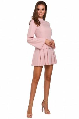 Krátke ružové šaty so skladanou sukňou model 138568 MR