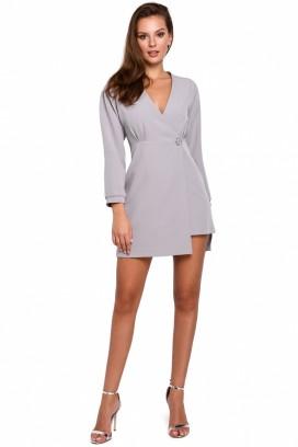 Krátke šedé šaty s prekladaným dekoltom model 138680 MR