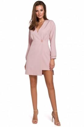 Krátke ružové šaty s prekladaným dekoltom model 138682 MR