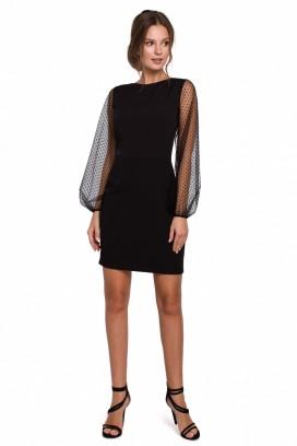 Krátke čierne spoločenské šaty s tylovými rukávmi model 138686 MR