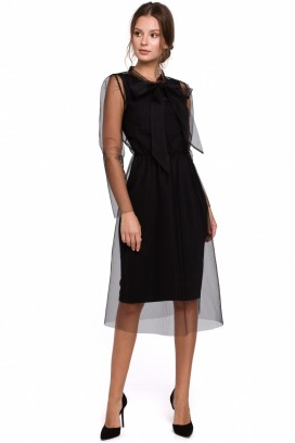 Krátke čierne spoločenské šaty model 138756 MR