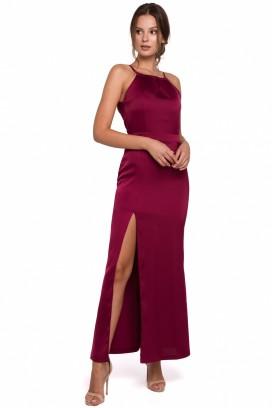 Dlhé bordové spoločenské šaty s rozparkom model 138750 MR