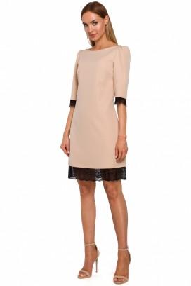 Krátke béžové púzdrové šaty s čipkou model 138828 ME