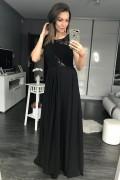 Dlhé čierne spoločenské šaty s čipkou model 105275 ys