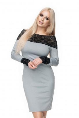 Krátke šedé šaty s čipkou model 131625 Pb