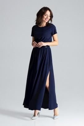 Dlhé tmavomodré šaty s rozparkom model 133223 lf