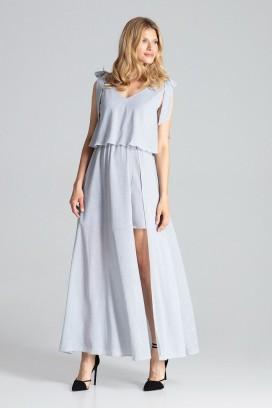 Dlhé šedé spoločenské šaty s rozparkom model 138277 fL
