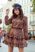 285-1 Krátke leopardie šaty s volánikmi