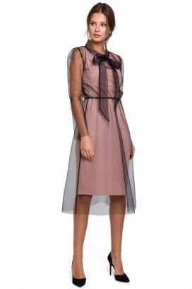 Krátke ružovo-čierne spoločenské šaty model 138755 MR