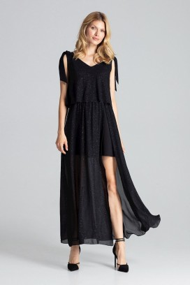 Dlhé čierne spoločenské šaty s rozparkom model 138276 fL