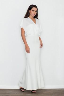 Dlhé biele spoločenské šaty model 111034 fl
