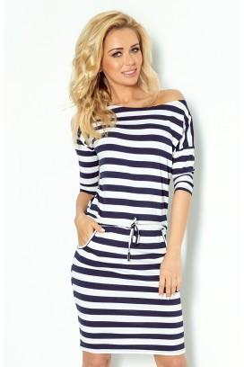 13-46 Krátke bielo-modré pásikové športové šaty s vreckami