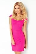 118-3 Krátke ružové púzdrové šaty