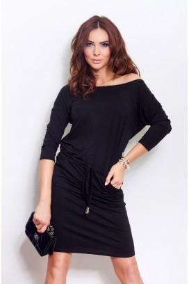 13-1A Krátke čierne športové šaty s vreckami