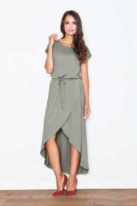 Zelené asymetrické šaty s opaskom model 111529 fl
