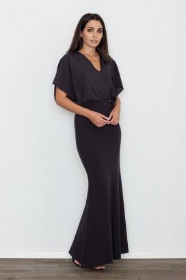 Dlhé čierne spoločenské šaty model 111035 fl