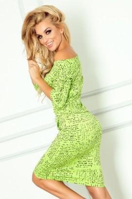 13-35 Krátke zelené športové šaty s vreckami a potlačou písma