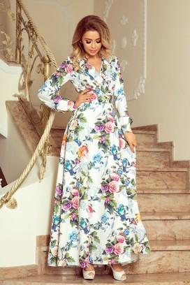 245-1 Dlhé biele kvietkované maxi šaty so širokou sukňou a dlhými rukávmi