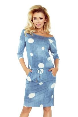 13-74 Krátke modré športové šaty s vreckami a bielymi bodkami