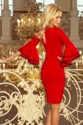 188-1 Krátke červené púzdrové spoločenské šaty s volánovými rukávmi