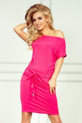 56-1 Krátke ružové športové šaty s krátkam rukávom
