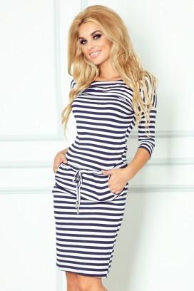 13-34 Krátke bielo-modré športové šaty s vreckami