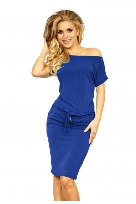 139-3 Krátke modré športové šaty s vreckami a potlačou