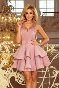 200-10 Krátke ružové spoločenské šaty s volánmi