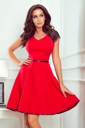 254-2 Krátke červené šaty s opaskom