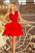 200-4 Krátke červené spoločenské šaty s volánikmi