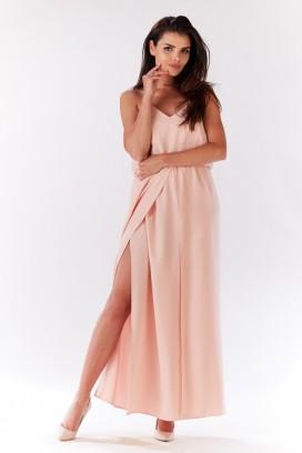 Dlhé broskyňové šaty s rozparkom model 93984 iy