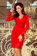 170-6 Krátke červené čipkové spoločenské šaty s hlbokým výstrihom a dlhými rukávmi