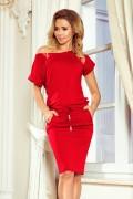 139-4 Krátke červené športové šaty s krátkym rukávom