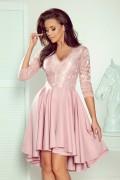 210-11 Krátke ružové spoločenské šaty s čipkou