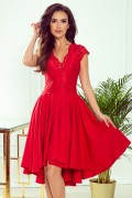 300-2 Krátke červené spoločenské šaty s čipkou